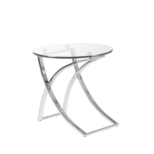 Euro Style Talisa Glass Top Side Table with Chromed Steel Base