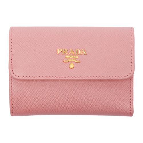 PRADA Pink Saffiano Trifold Wallet