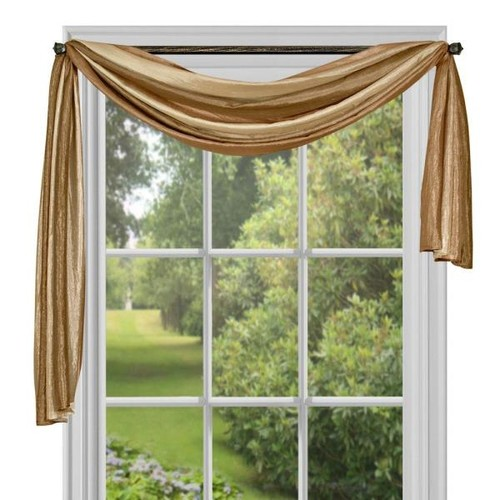 Achim Semi-Opaque Ombre Polyester 50 in. W x 144 in. L Scarf Curtain in Sandstone