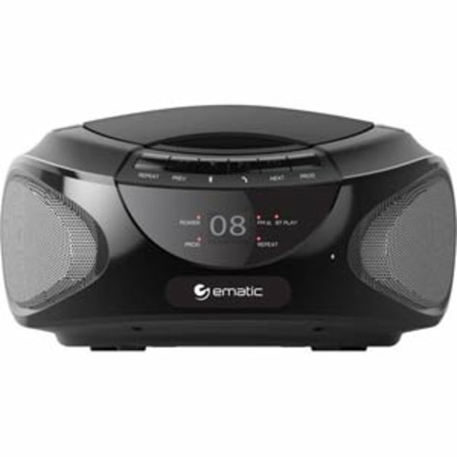 Ematic CD Boombox With Bluetooth audio and Speakerphone - Black