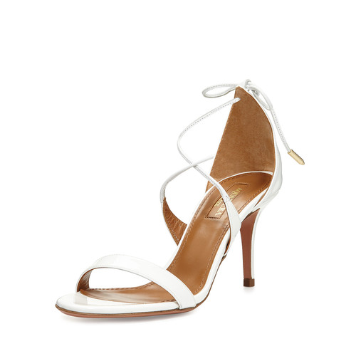 AQUAZZURA Linda Patent Leather Sandal, White