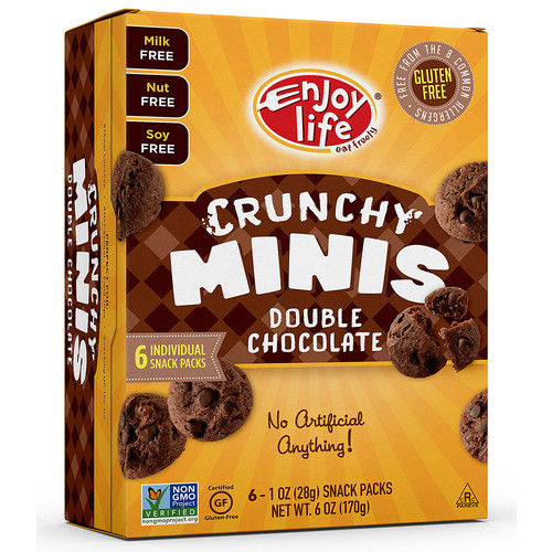 Enjoy Life Crunchy Minis Double Chocolate -- 6 Individual Snack Packs