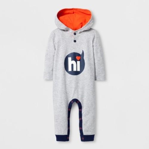 Toddler Boys' Hooded Long Sleeve Romper with Kangaroo Pocket - Cat & Jack Gray