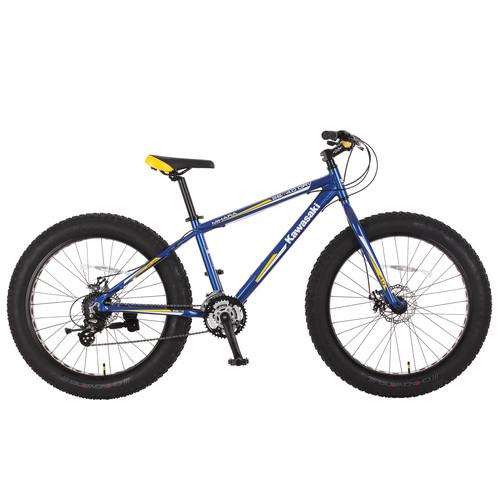 Kawasaki Mihara Fat Tire Bike, aluminum, 26x4 inch wheels, Blue/Yellow