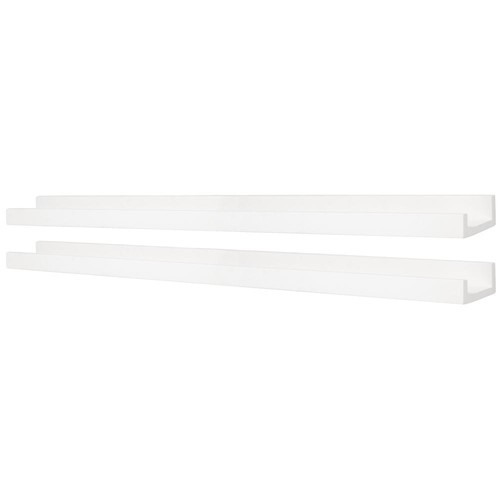 Kiera Grace Edge 44 in. W x 4 in. D White Picture Frame Ledge (Set of 2)