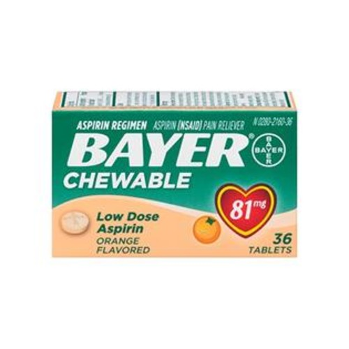 Bayer Chewable Aspirin Low Dose 81mg Orange Flavor 36 count