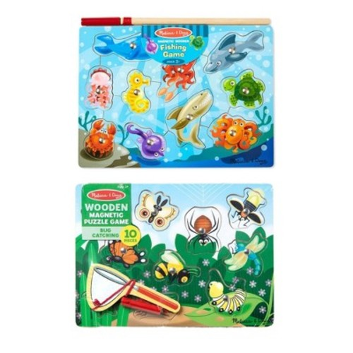 Melissa & Doug Magnetic Wooden Puzzle Game Set: Fishing and Bug Catching: Melissa & Doug: Toys & Games
