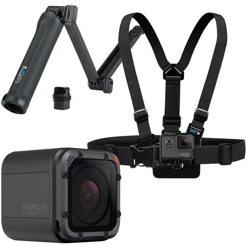 GoPro - Family Bundle - HERO5 Session 4K Action Camera with Chest Mount Harness and 3-Way Mount
