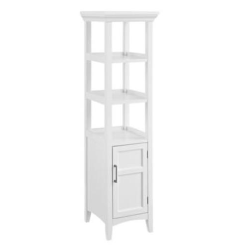 Simpli Home Avington 15.75-Inch Bath Storage Tower in White