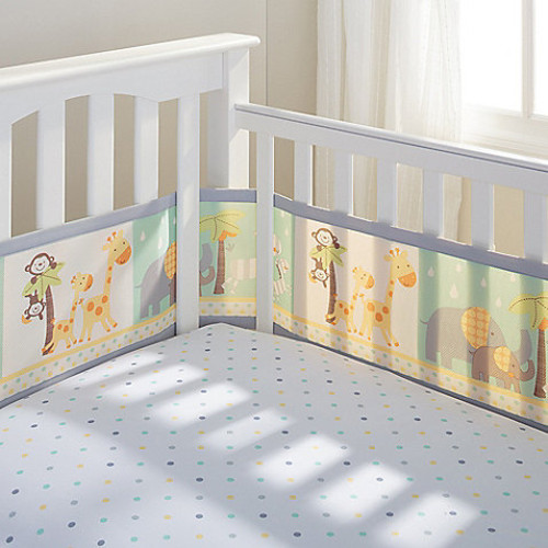 BreathableBaby Mix & Match Breathable Mesh Crib Liner in 2 By 2 Safari