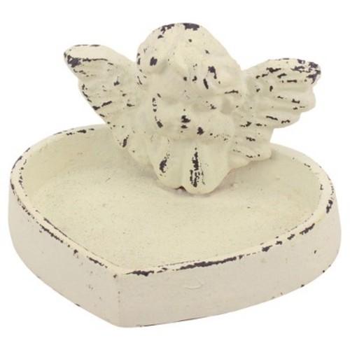 Stonebriar Collection Rustic White Cast Iron Cherub Tray