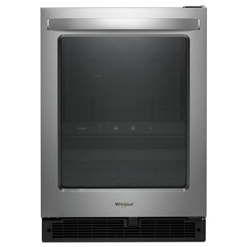 Whirlpool 24 in. W 5.8 cu. ft. Dual Zone 12-Bottle Wine Cooler and Beverage Center in Stainless Steel