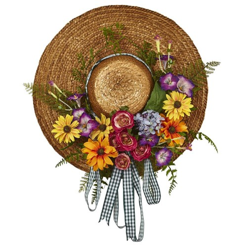 Nearly Natural Mixed Flower 18 in. Hat Wreath