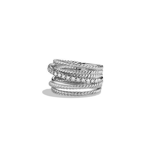 Crossover Wide Ring with Diamonds, Size 7