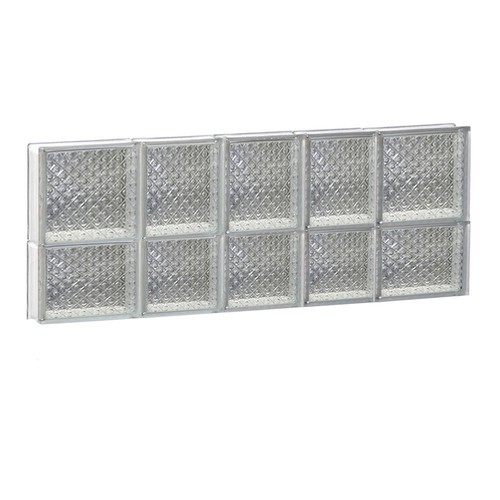 Clearly Secure 32.75 in. x 13.5 in. x 3.125 in. Diamond Pattern Non-Vented Glass Block Window