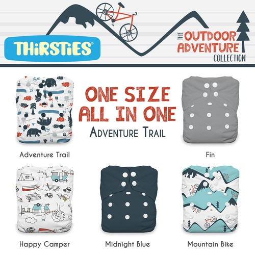 Thirsties Snap One Size All In One Woodland Collection - (Assorted Styles)