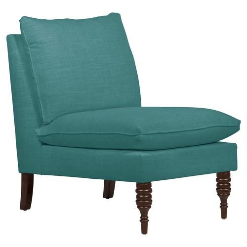 Daphne Slipper Chair, Teal Linen