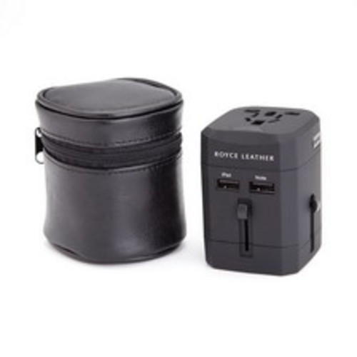 Royce Leather International Travel Adapter, Black