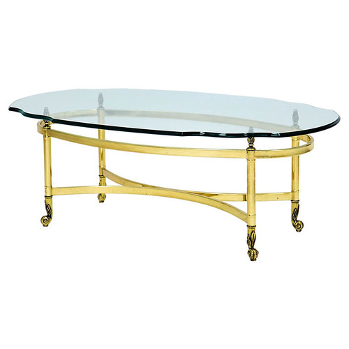 Oval Brass & Glass Cocktail Table
