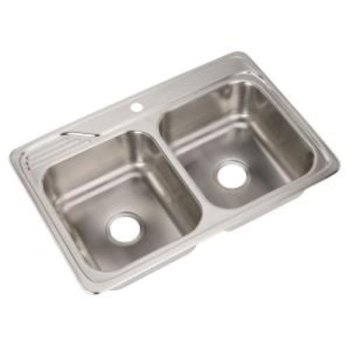 Elkay Celebrity Drop-In Stainless Steel 33 in. 1-Hole Double Bowl Kitchen Sink