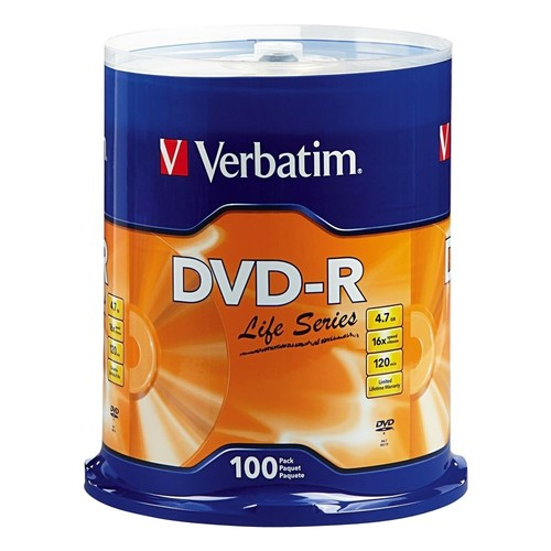Verbatim - 100-Pack 16x DVD-R Disc Spindle