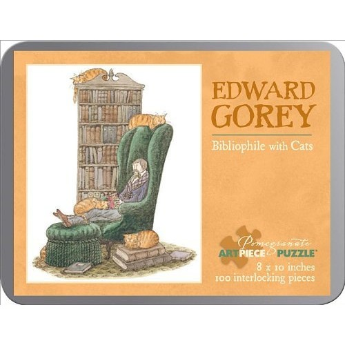 Edward Gorey - Bibliophile With Cats: 100 Piece Puzzle