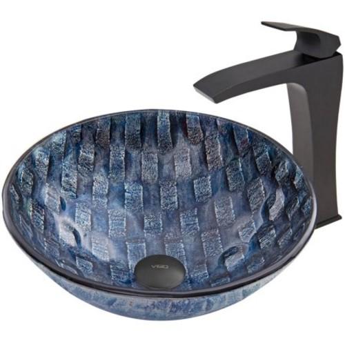 VIGO Glass Vessel Sink in Rio and Blackstonian Faucet Set in Matte Black