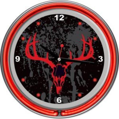 Trademark Global 14 in. Hunt Skull Chrome Double Ring Neon Wall Clock