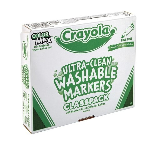 Crayola Washable Marker Classroom Set, Fine Tip, 10 Assorted Colors, Pack of 200