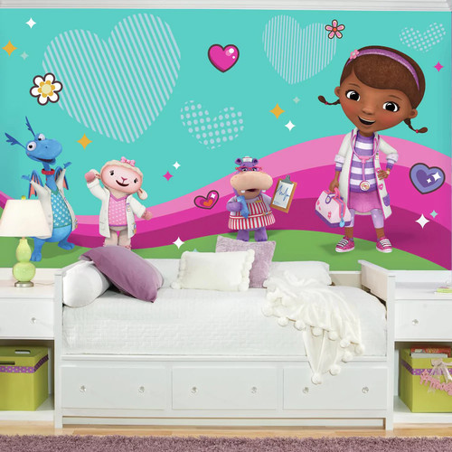 RoomMates 72 in. W x 126 in. H Doc Mcstuffins and Friends XL Chair Rail 7-Panel Prepasted Wall Mural