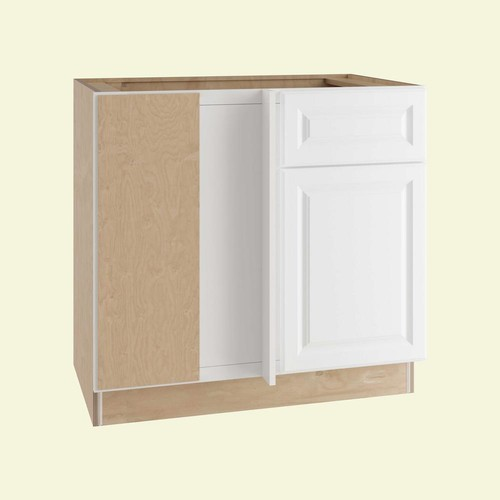 Home Decorators Collection Hallmark Assembled 36x34.5x24 in. Base Blind Corner Kitchen Cabinet Left with Door and Drawer in Arctic White