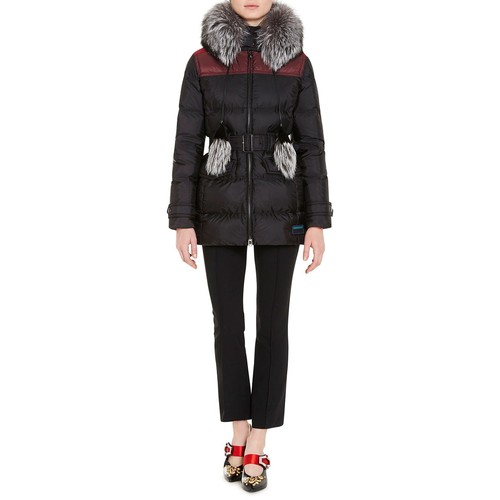 PRADA Fur-Trim Quilted Puffer Coat
