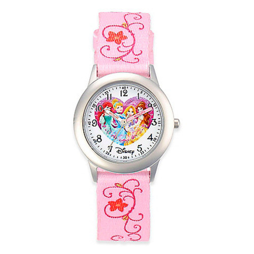 Disney Children's 32mm Princess Watch in Stainless Steel with Pink Nylon Strap
