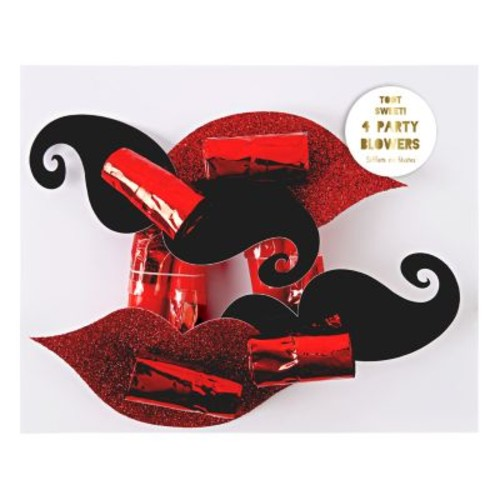 Mustache & Lips Party Blowers, Set of 4