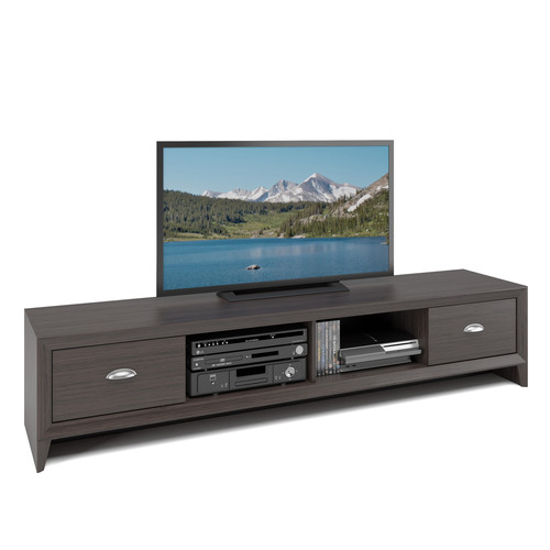 CorLiving Lakewood Extra Wide TV Bench in Modern Wenge Finish, for TVs up to 80