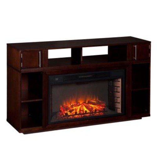 Southern Enterprises Sandy 56 in. Freestanding Media Electric Fireplace TV Stand in Espresso