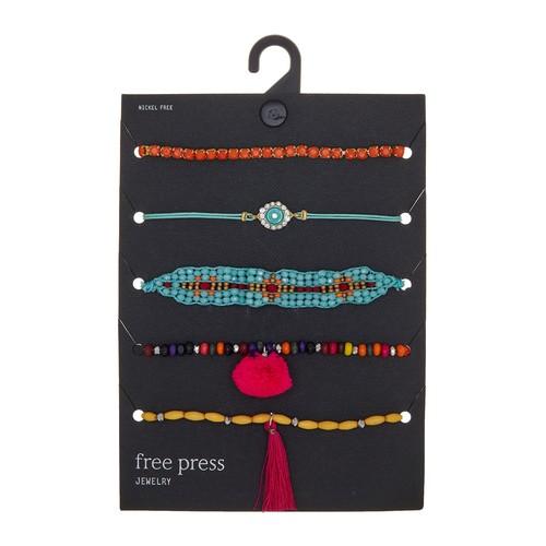 Set of 5 Pompom Bracelets