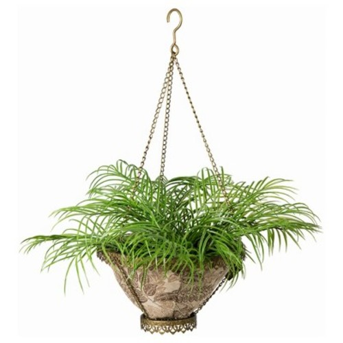 Avignon Hanging Fabric Planter With Palmetto Mocha Liner - Gold - Bombay Outdoors