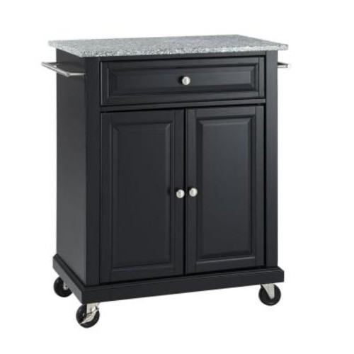 Crosley Black Kitchen Cart With Granite Top