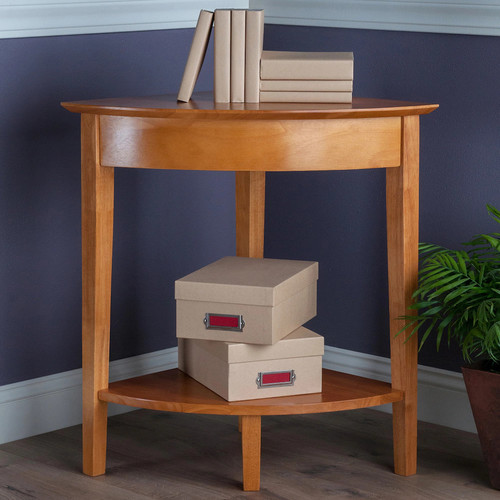 Winsome Wood Corner Desk with Shelf, Honey