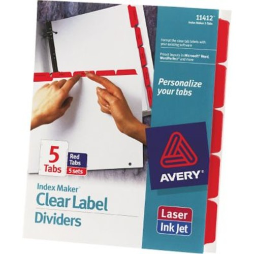 Avery Index Maker White Dividers with Color Tabs for Laser and Inkjet Printers