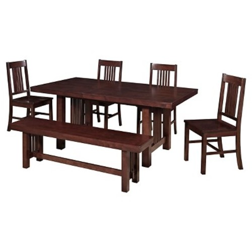 6-Piece Solid Wood Dining Set, Cappuccino [Cappuccino]
