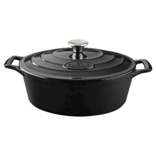 La Cuisine LC 6140MB PRO Oval 4.75 Qt. Cast Iron Casserole - Black