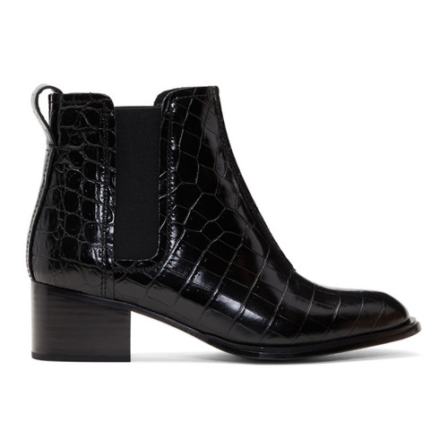 RAG & BONE Black Croc Walker Ii Boots