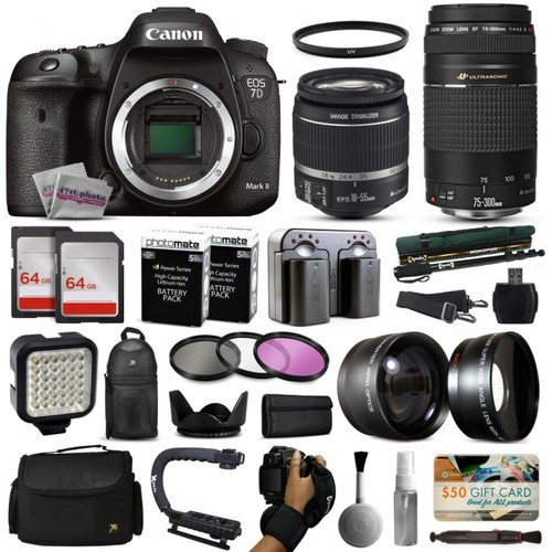 Canon 7D Mark 2 DSLR Camera w/ 18-55mm IS II + 75-300mm USM Lens + 128GB Bundle