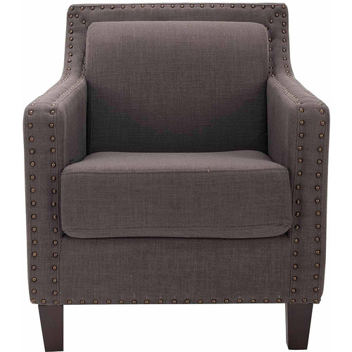 Safavieh MCR4549A Charles Charcoal Brown George Arm Chair