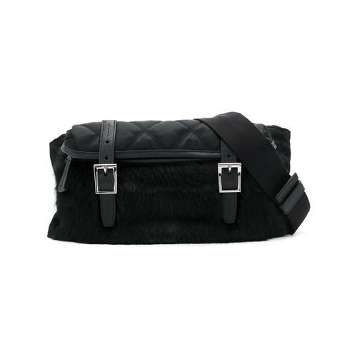 Quilted pony fur belt bag