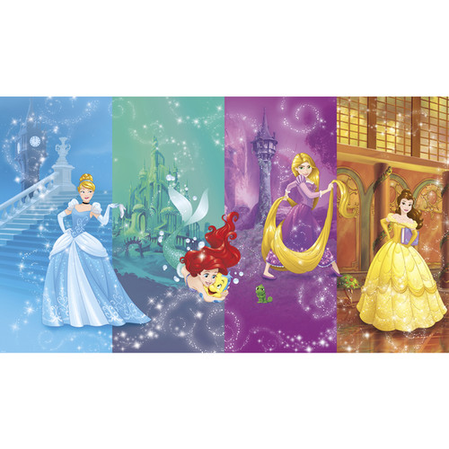 Disney Princess Scenes XL 6' x 10.5' Ultra-strippable Chair Rail Prepasted Mural - Multi, 7 - 18