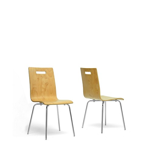 Stockholm Light Brown Wood Modern Dining Chair Set of 2