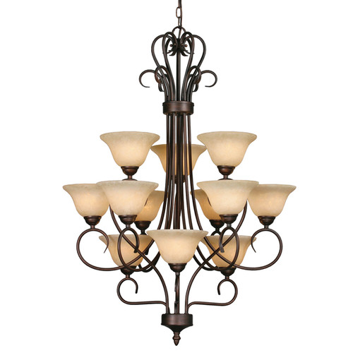 Golden Lighting Homestead Rubbed Bronze/Tea Stone Steel/Glass 3-tier 12-light Chandelier
